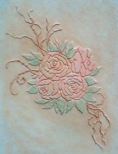 Imagine beautiful, soft raised plaster roses on your walls. Try this Raised Plaster Stencil to accomplish a beautiful wallpaper look. http://www.victorialarsen.com/Plaster%20Stencils/Plaster_Stencil_Victorias_Roses.htm