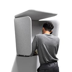 PhoneBox is an acoustic mobile phone booth from Axia Design that can be used in busy public spaces and noisy open plan offices for privacy.