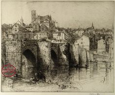 Hedley Fitton Pont St. Etienne, Limoges 1910  Original etching Detail