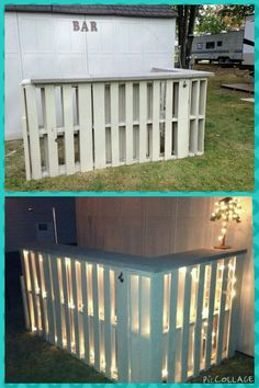 Pallet bar - 6 pallets, patio pavers, 2 tubes liquid nails (use w/ a gun), wood screws & one piece of wood. - strung lights & attached a bottle opener! Outdoor Projects, Pallet Projects, Pallet Ideas, Bar Pallet, Outdoor Pallet Bar, Outdoor Bars, Terrasse Design, Palette Diy, Outdoor Living