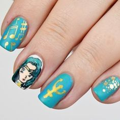 Sailor Moon Blogparade: Sailor Neptune Nails | Nail Art by @nisinails