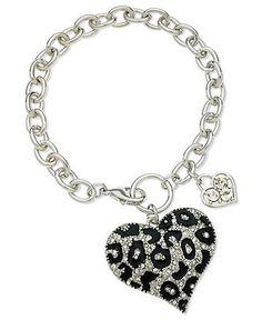 GUESS Bracelet, Silver-Tone Glass Crystal Jet Heart Bracelet - Fashion Bracelets - Jewelry & Watches - Macy's