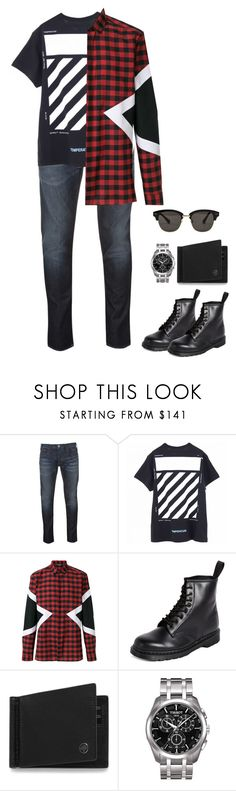 """Zigs and Zags"" by krys-imvu ❤ liked on Polyvore featuring Armani Jeans, Off-White, Neil Barrett, Dr. Martens, Mulberry, Tissot, Gentle Monster, men's fashion and menswear"