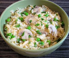 For the Love of Cooking » Orzo with Mushrooms, Peas, and Parmesan