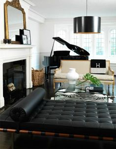 glam black and white room