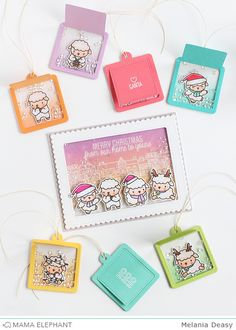 Today I want to share with you my card and tags for Mama Elephant Designer Series using Wooly Winter stamp set. I loveee this stam. Card Tags, Gift Tags, Sheep Cards, Mama Elephant Stamps, Interactive Cards, Embossed Paper, Elephant Design, Card Making Inspiration, Paper Cards