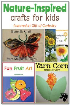 4 nature-inspired crafts young kids can make. Easy Crafts For Kids, Craft Activities For Kids, Gifts For Kids, Fun Crafts, Art For Kids, Craft Ideas, Spring Activities, Outdoor Activities, Unique Art Projects