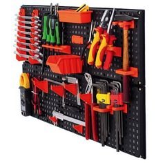 Bins and louvre made of high quality plastic. Their compatible construction allows to organise bins in many layouts depends on needs. Pegboard Storage, Plastic Storage, Storage Bins, Diy Storage, Dewalt Tstak, Home Storage Units, Power Tool Storage, Orange Rooms, Tool Board