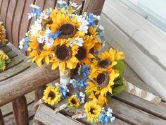 12 pc. Girasoles y Texas Bluebonnets / rústica boda / país ramo de boda / seda / prepara pelea / 4 Dama de honor / 4 padrinos de boda