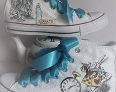 Check out our alice in wonderland shoes selection for the very best in unique or custom, handmade pieces from our shoes shops. Alice In Wonderland Shoes, Etsy Uk, Oeuvre D'art, Converse, Wraparound, Disney, Sneakers, Party Ideas, Alice In Wonderland