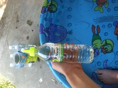 Ian is a genius! Fill recycled water bottles with water and screw on a water balloon nozzle! Easier than turning the hose on and off again or running up the water bill