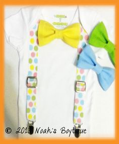 Baby Boys Easter Outfit - Boys First Easter Outfit - Polka Dot Suspenders - Yellow Blue Lime Bow Tie - Infant Easter by Noah's Boytique, $ #firsteasterboy #boyseasteroutfit