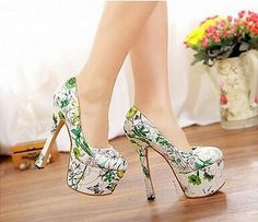 Zapatos De Tacón Alto 2016 Mujer Puntera Redonda Estampado Floral Fiesta Vestido Retro Zapatos De Salón | Clothes, Shoes & Accessories, Women's Shoes, Heels | eBay!