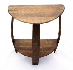 Wine Barrel Half Round End Table made from a recycled solid oak barrel end cap and staves. Ideal for placing by a couch or wall where space is a concern. Round Entry Table, Round Side Table, Side Tables, Spool Tables, Diy End Tables, End Table Plans, Half Table, Wine Stand, Barrel Projects