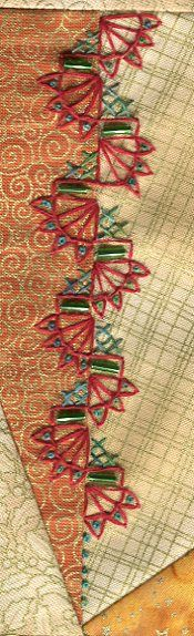 Lovely red & green stitching with bugle beads. The French Knots could be replaced with seed beads. The green crosses could be replaced with 3 lazy daisy stitches in the corner.