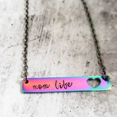 MOM LIFE Rainbow Bar Necklace Script Personalized Necklace image 1 Rainbow Bar, Sweet 16 Gifts, Heart Cut Out, Bar Necklace, Necklaces, Personalized Necklace, Handmade Jewelry, Boho Jewelry, Jewelry Gifts