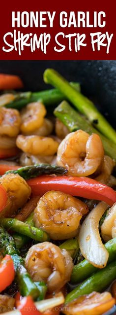 This quick and easy Honey Garlic Shrimp Stir Fry is filled with plump shrimp and. - This quick and easy Honey Garlic Shrimp Stir Fry is filled with plump shrimp and fresh veggies in a - Stir Fry Recipes, Fish Recipes, Seafood Recipes, Asian Recipes, Cooking Recipes, Healthy Recipes, Dinner Recipes, Seafood Meals, Seafood Pasta