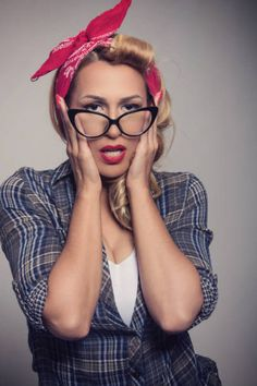 pin up blonde girl retro style with sunglasses