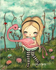 Alice In Wonderland Print Cute Alice and Flamingo Fairy Tale Wall Art--- Croquet Rescue Alice In Wonderland Print, Adventures In Wonderland, Matte Painting, Ink Painting, Flamingo Painting, Original Paintings, Original Art, Paper Wall Art, Fairy Art