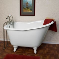 52 Wallace Cast Iron Slipper Clawfoot Tub - fits comfortably in small spaces. Clawfoot Tub Bathroom, Bathtub Shower, Bathroom Mirrors, Bathroom Fixtures, Glamping, Small Bathtub, Bathroom Small, Bathroom Ideas, Neutral Bathroom