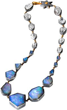 'Milky Way' necklace by Judy Geib + Alpha featuring  featuring faceted opals and quartz crystals