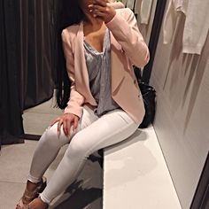 Stripped shirt with a blazer and white pants