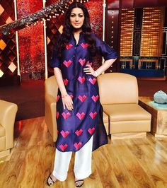 Make it like Sonali and wear your heart on your sleeve  Shop this Quirkbox kurti on exclusively.com   #bollywood #celebritystyle #celebrity #diva #fabulous #actor #gorgeous #glamour #beauty #beautiful #style #trend #kurti #quirky #quirkbox #exclusively #shop #online #onlineshopping #designer #luxury #pret #embroidery #heart by exclusivelyin