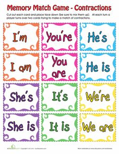 Worksheets: Contraction Matching Game