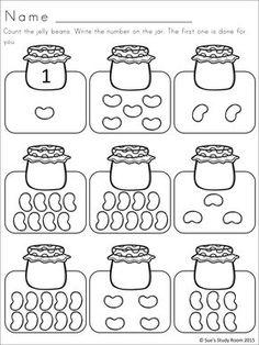 Jelly Bean Developing Math Skills for PreK and K Preschool Writing, Numbers Preschool, Preschool Learning, Teaching, Kindergarten Math Worksheets, Math Activities, Math Math, Free Worksheets, Basic Math