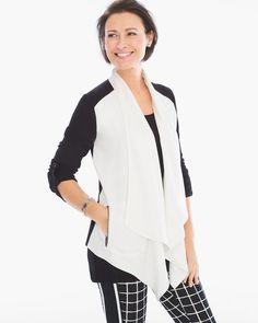 Chico's Women's Zenergy Bianca Colorblock Jacket, Ecru/Black, Size: 00 (0/2 XS)