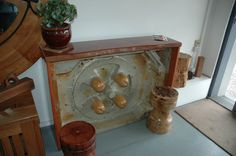 Antique pine moulding wrapped in River Red Gum and made into a side table - Wildwood designs Sydney