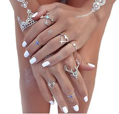 Vintage Silver Geometry Arrow Turquoise Antlers Joint Knuckle Nail Midi Ring Set R3