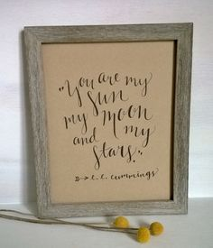 You Are My Sun My Moon and My Stars Quote 8x10 by ChampaignPaper