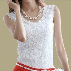 5b49592d110 Pin Blusas Femininas 2016 Summer Women Blouse Lace Vintage Sleeveless White  Renda Crochet Casual Shirts Tops Plus Size S M L XL XXL to one of your  boards if ...