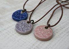 lotus pendant porcelain pendant yoga jewelry by earthformsbymarie
