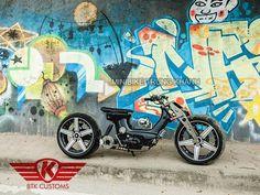 Moped chopper | Girder fork | Single-sided swingarm | Cut-off subframe | Intermediate rear disk brake