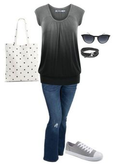 Grey to black faded top with cute polka dot purse.Try Stitchfix subscription box! Best personal styling service. Fill out your style profile, schedule a fix and enjoy! #affiliate