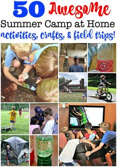 50 Fun Summer Camp At Home Activities Crafts & Field Trips (from Pre-K to Teens!) Summer camp at home is a great way to spend summers with your kids! Here are 50 fun summer activities summer crafts backyard games indoor games and summer field trips for yo Summer Camps For Teens, Teen Summer, Summer Crafts For Kids, Summer Fun, Kids Crafts, Summer Camp Activities, Home Activities, Indoor Activities, Camping Games