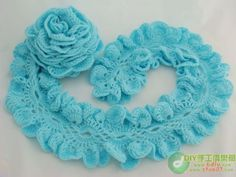 free pattern for crochet ruffle scarf   Blue Ruffle Scarf free crochet graph pattern   scarf