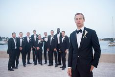 modern groom in Armani and his groomsmen,  photo by capturedbyjen.com