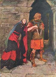 "The great illustrator Edwin A. Abbey, R.A. Click to enlarge this illustration from Harper's Monthly Magazine of November 1906. It is of Macbeth and Lady Macbeth, from Act II, Scene II. She is depicted imploring her husband, ""Give me the daggers."""