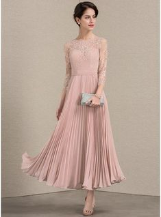 2a9080cd95   159.00  A-Line Princess Scoop Neck Ankle-Length Chiffon Lace Mother of  the Bride Dress With Pleated (008143377)
