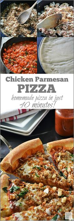 Chicken Parmesan Pizza | by Life Tastes Good tastes just like the classic Italian dish typically served over pasta, but I'm putting it on pizza dough today! From the fresh breadcrumbs to the homemade tomato sauce, this pizza is layered with fabulous Italian flavors for maximum flavor! #spon #LTGRecipes #SundaySupper #GalloFamily