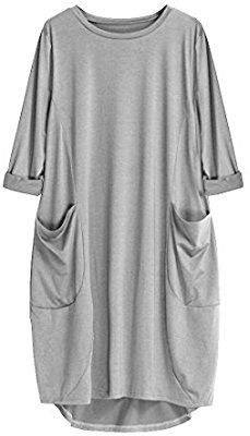 b18bdeefb00bd Amazon.com  Women Dress Daoroka Ladies Long Sleeve Pocket Casual Loose  Swing Plain Simple Plus Size Cotton Solid T-Shirt Skirt (M