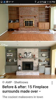 15 fireplace remodel ideas for any budget pinterest sanding for us grey washed brick with a lighter grey paint color to flank the fireplaceactually a greige would likely be better because the warmth of the brick solutioingenieria Image collections