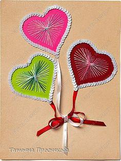 Мастер-класс Открытка Валентинов день Аппликация Изонить Воздушные сердечки Бумага Нитки Пайетки