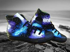Blue and Purple Galaxy Sneakers Black High Tops