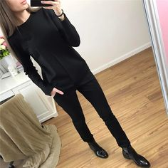 Tracksuits Direct Selling Cotton Polyester Full 2017 Spring New Women's Suits Simple Fashion Solid Color Shirt + Pants 2 Sets
