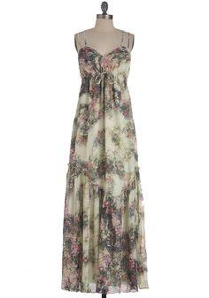 Watercolor Garden Dress - Long, Multi, Green, Purple, Pink, Tan / Cream, Floral, Party, Maxi, Spaghetti Straps