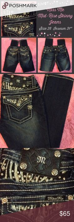 "Miss Me RARE Zebra Bling Skinny Jeans NWOT. These totally awesome Miss Me Mid-Rise Skinny jeans! .These are highly sought after and very RARE! They have a zebra bling print on the back pockets and yoke. They are a size 26, waist measurement laying flat is 13.5"" with a 31"" inseam. Miss Me Jeans Skinny"